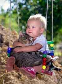 Кошка в доме с малышом